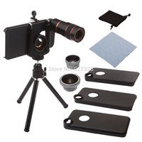 Atacado-Neewer 3 em 1 Camera Screw-on kit Lense Inclui 0.67X Lente Grande, Telescópio Fisheye e 8X para iPhone 4 / 4S / 5 / 5S / 5C
