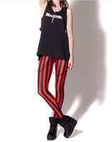 Wholesale Beetlejuice Pants - Wholesale-women red striped digital printed pants black milk Beetlejuice Red Leggings brand clothes for womans----K177
