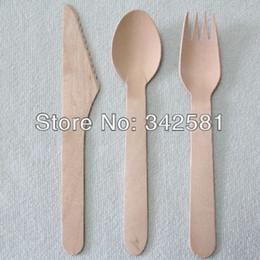 Wholesale-100sets Posate di posate in legno usa e getta ecologiche spedizione gratuita Set 100 / Pack 16cm Legno di betulla naturale da