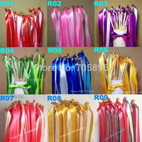 Wholesale Bell End - Wholesale-FREE SHIPPING--50pcs of Wedding 3 Color Ribbon Wands,Wedding Stream Ribbon Sticks Wands with &Metal End & 2 Bells(JCO-RA06