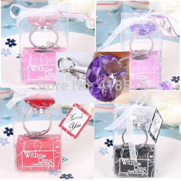 Wholesale Christening Favours - Wholesale-Home Party Favors Gifts Crystal Diamond Ring Shape Keychain Key Baby Bride Shower Christening Wedding Favour Bomboniere