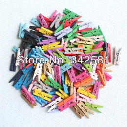 Wholesale-Free Shipping 500 pcs MIX Color Mini Wooden Clothes Peg | Wood Clip | Tiny Colothespins Prefect Wedding Party Decoration