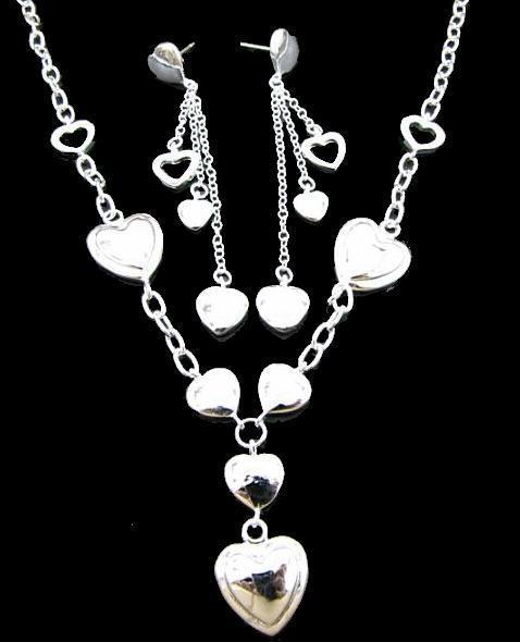 Groothandel 925 zilveren liefde ketting + oorbellen + doos + doek tas set A066