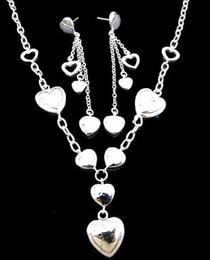 Earrings Bags Australia - Wholesale 925 Silver love necklace + earrings + box + cloth Bag Set A066