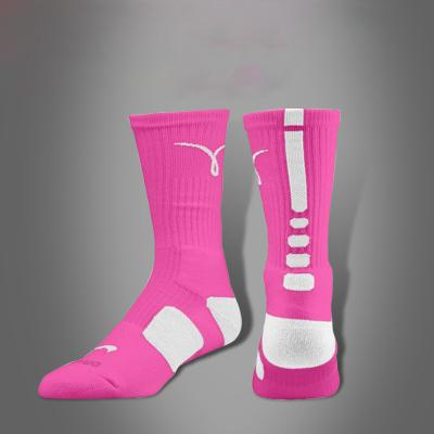 Wholesale-Breast cancer socks Qalien tennis sport socks knee hight cotton towel men basketball Socks long sock deodorant for men