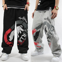 Wholesale Sport Hip Hop Pants Woman - Wholesale-Lovers SweatPants Sport Pants Hip Hop Designer Cotton Fashion Rhino Print Man Woman Casual Trouser Black Gray HipHop #H0028
