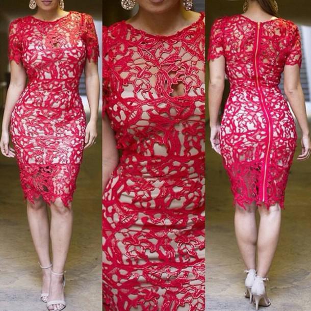 Compre Al Por Mayor Boho Crochet Lace Dress Mujeres Más El Tamaño S ...