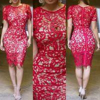 Wholesale red cut out bodycon dress - Wholesale-Boho Crochet Lace Dress Women Plus Size S-XXL Cut Out White Black Red Pencil Bandage Dress Chic Midi Bodycon Party Dresses