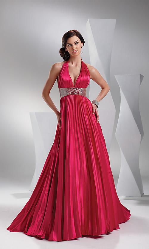 Halter Top V Neck Pleated Open Back Red Satin Gown Luxury Prom Dress