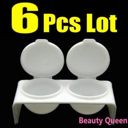 Wholesale Acrylic Liquid Double - 6 Pcs Lot Double DAPPEN DISH Case Acrylic Powder Liquid Gel 3D UV Nail Art Tip * FREE SHIP *