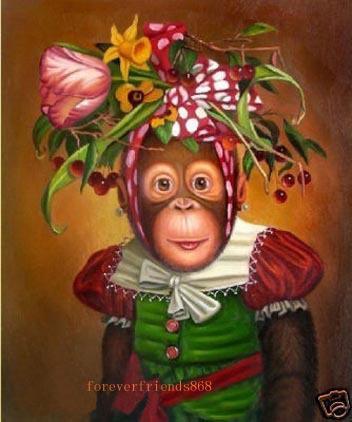 Scimmia adorabile, pittura a olio di arte animale dipinta a mano pura su tela di alta qualità il deco della parete