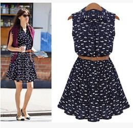 Wholesale New Shirt Patterns - Wholesale-summer new women shirts dress Cat footprints pattern Show thin Shirt dress with Belt