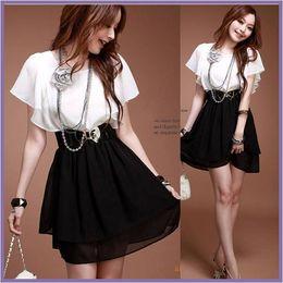 99e3ba41f47b All ingrosso-estate nuove donne calde abbigliamento stile coreano Lady  Preppy Style Ruffles Sleeve Patchwork Vintage elegante abito in chiffon  casual