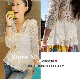 Wholesale Padded Puffed Shoulders - Wholesale-2015 Skinny Shoulder Pad Precious Mosaic Lace Shirt Cardigan White Blouse For Women Autumn Tops M L XL YF1028