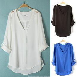 Wholesale Stud Chiffon Shirt - Wholesale-Women V-Neck Chiffon Shirt Rivets Studs Trim Foldable Sleeve Pullover summer 2015 New Hot selling Tops Blouse Good Quality