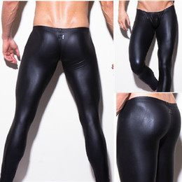 Wholesale leather pants beige - Wholesale-Sexy mens brand long pants tight fashion hot black human Pants made leather sexy n2n boxer underwear sexy panties Free Shipping