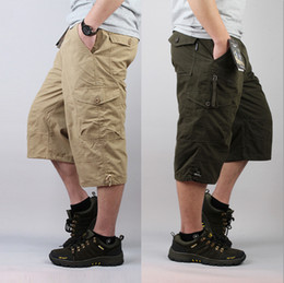 Wholesale mens multi pocket cargo pants - Wholesale-Free Shpping Fashion Mens Cotton Summer Plus Size Fat Multi Pockets Outdoor Work Cargo Pants Long Capri Trousers For Men 6XL 7XL