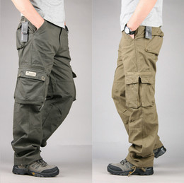 Wholesale Mens Multi Pocket Cargo Pants - Wholesale-Size 30-40 Mens Cheap Cargo Pants Casual Mens Pants Multi Pocket Military Pants for Men Army Men Pants Juniors Trousers
