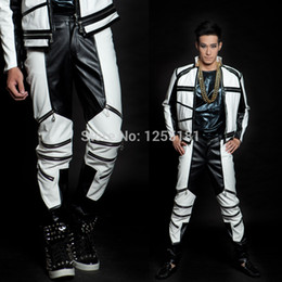 Wholesale White Leather Costume - Wholesale-New male fashion costume Bigbang gd coup d e tat black and white color block mz general version of zipper leather pants