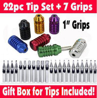 "Wholesale Steel Tattoo Grips - Wholesale-Set of 22 Stainless Steel Tattoo Tips + 7 Aluminum 1"" Grips & Tubes Kit Gift Box"