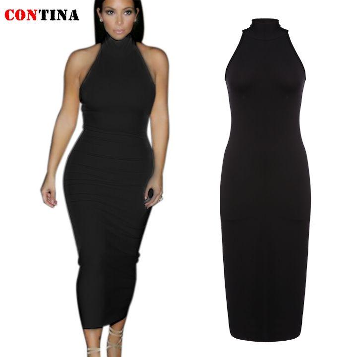 Sleeveless black turtleneck dress