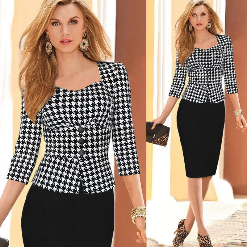 8d64654269ef Al por mayor-Nuevas mujeres elegantes uk vestidos de oficina botón de la  manera de manga completa del partido de las mujeres vestido de trabajo 2015  ...