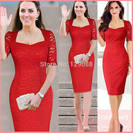 Wholesale Kate Middleton Princess Lace Dress - Wholesale-S-XXL 2015 New Women Summer Casual Dress Princess Kate Middleton Short Sleeve Hollowed Lace Dress Knee-length Maternity Clothes