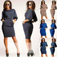Wholesale Slim Elegant Formal Dress - Wholesale-New 2015 Winter Warm Dress Women Fashion Casual Clothing Slim Formal Work Tunic Midi Bodycon Lady Elegant Office Dress