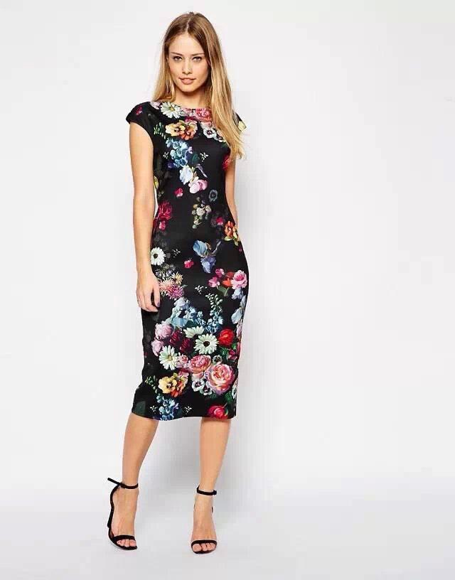 Wholesale-2015 Summer Fashion Women Elegant Floral Print Dress Vintage O  Neck Short Sleeve Bodycon Casual Dresses 04AZ60 Dress Online with   33.15 Piece on ... da2f0b334868
