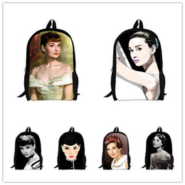 Wholesale Audrey Hepburn Bags - Wholesale-new Audrey Hepburn backpack children school bags for girls character printing women's backpacks kids backpack female lady bags