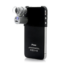 Wholesale Iphone 4s Leads - Wholesale-Free Shipping 60X Magnification Microscope for iPhone 4   4S (with LED Head Light & UV Light)