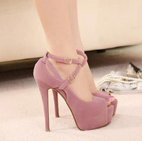 Wholesale Wedge Heel Open Toe Shoes - Wholesale-Free Shipping 2015 new spring high-heeled shoes wedding shoes platform fashion women's shoes pumps red bottom high heels# 5698