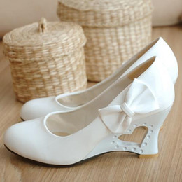 Wholesale White Wedges Bow - Wholesale-Plus Size 35-43 Women Wedges Shoes Sweet Heart Princess Bow Women Wedding Shoes Fretwork Wedges Heels Casual Women Pumps