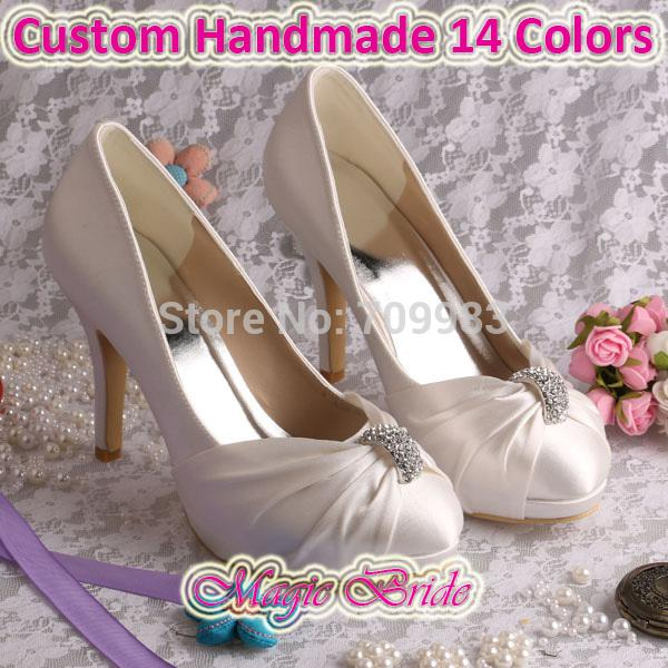 9821aebc4c5 Wholesale Custom Handmade Pump Elegant High Heeled Bridal Shoes Woman  Wedding Ivory Satin Cute Shoes Green Shoes From Wearbag