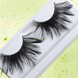 Wholesale Halloween Feather Lashes - Wholesale-EQ9192 Black False Fancy Handmade Party Halloween Feather Eyelashes Eye Lash #13