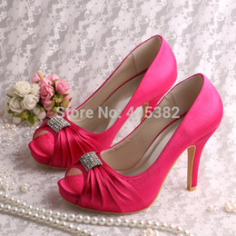 Wholesale Champagne Wedding Wedge Shoes - Wholesale-(13 Colors)Custom Handmade Hot Pink Heels for Women Wedding Shoes Summer High Heel Dropshipping
