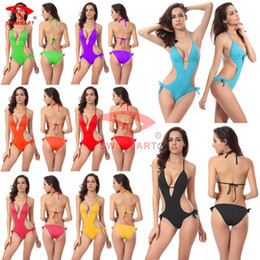 Monokini Trajes De Baño Al Por Mayor Baratos-Al por mayor-Libre caliente Al Por Mayor Push up 2015 Vendaje Vintage One piece Monokini traje de baño