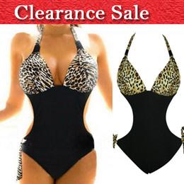 Wholesale Leopard Swimsuit One Piece - Wholesale-Sexy Plus Size Swimwear XXL Bathing Suits For D Cup leopard Swimsuit Backless Halter One Piece For Women Swimwear