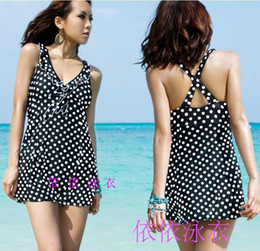 Barato Dot Swimdress-Wholesale-Hot Plus Size Sexy One Piece Swimsuit V profundo Ruffle Polka <b>Dot Swimdress</b> Maiô