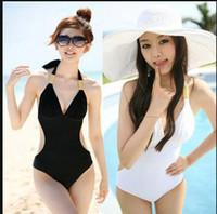 Wholesale Cheap Monokinis Swimwear - Wholesale-2015Free Shipping Female High Waisted Swimwear Women Monokinis Bathing Suits Plus Size Swim wear Cheap Retro Swimsuits One Piece