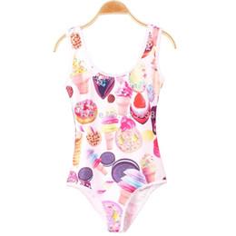 Karikaturzeichen bademode online-Wholesale-1pcs Sommer 2015 Frauen 3D Drucken Badeanzüge Damen Eiscreme-Cartoon-Charakter-Druck Ein Stück plus Größe Bademode F0606