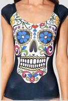 Wholesale Digital Print Swimsuit - Wholesale-HOT 2015 NEW Cover-ups Tankinis Set SUGAR SKULL BLACK CAP SLEEVE SWIMSUIT Digital Printing Backless Swimwear Women HY038