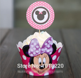 Wholesale Cupcake Wrappers For Weddings - Wholesale-24pcs Minnie mouse cupcake wrappers decoration birthday party favors for kids Micky cup cake toppers picks supplies