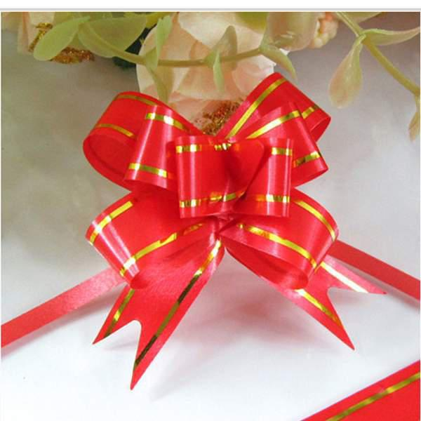 Wholesale-50 Pcs Wholesale Pull Bow Wedding Decoration Car Pew Gift Wrap Floristry Package Ribbon xmas Free Shipping