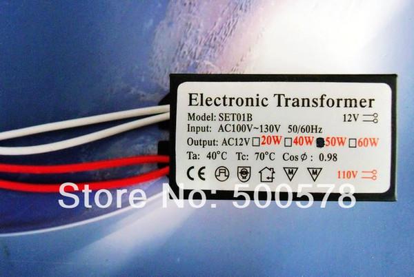 Venta al por mayor-2PCS 110V-130V 12V 110V 12V 50W Luz halógena Crystal Crystal LED Driver Fuente de alimentación Convertidor electrónico Transformador