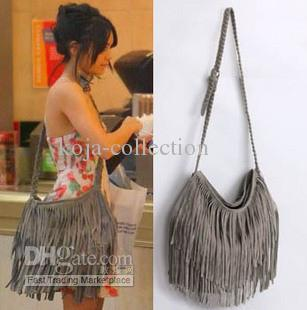 Free Ship Women Fashion Gray Faux Suede Fringe Tassel Messenger ...
