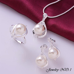 Wholesale Elegant Pearl Sets - Wholesale-Jewelry Jewelry Sets 925 Sterling Silver Jewelry Jessica Alba Wedding Necklace Set Jewerly Elegant Lady Exquisite