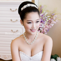 Wholesale Earring Accesories - Wholesale-Beautiful bride jewelry set hair accesories necklace earrings wedding accessories
