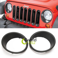 Faros Auto Al Por Mayor Baratos-Al por mayor-1Pair Negro ABS Rugged Ridge, faros biseles Anillos Auto Car Styling trim para Jeep Wrangler JK 2007-2015