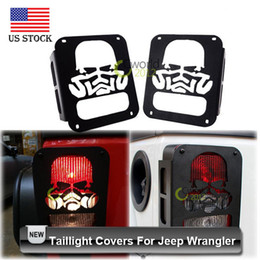 Wholesale Black Jeep Jk - Wholesale-2pcs Car styling Black Skull Tail Light Covers for Jeep Wrangler JK 2007~2015 with Screws